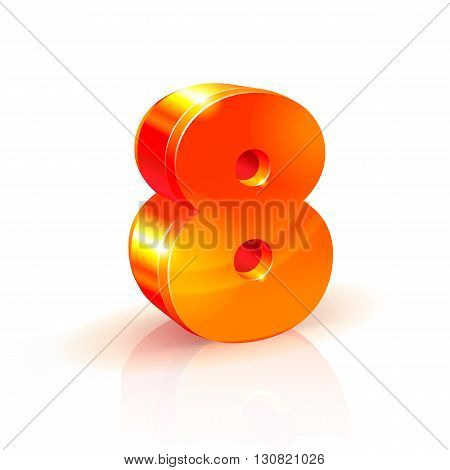 3d orange-red realistic volumetric image number eight. Isolated on white background