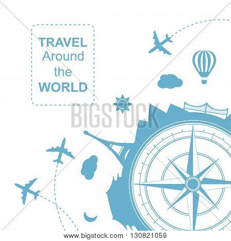 Famouse places. Travel around the world vector illustration. Travelling by plane, airplane trip in various country. Flat icon modern design style poster. Travel banner. Wind rose Travel agency round icon.