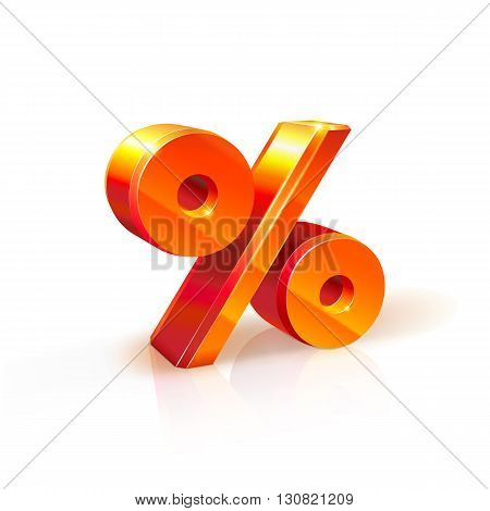 3d orange-red realistic volumetric percent sign image. Isolated on white background. It used to refer to discounts sales advertising purposes. % sign.