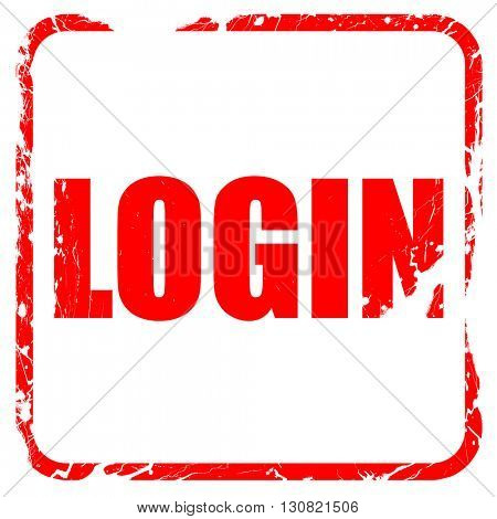 login, red rubber stamp with grunge edges