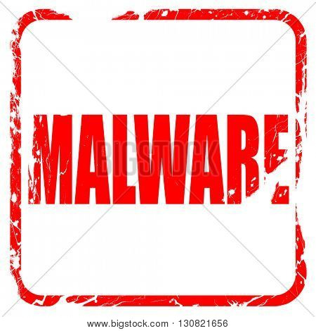 Malware computer background, red rubber stamp with grunge edges