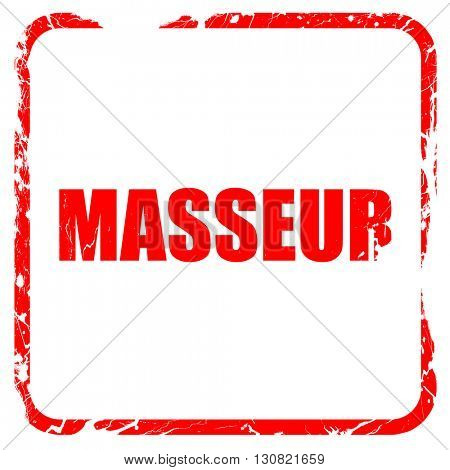 Massager, red rubber stamp with grunge edges
