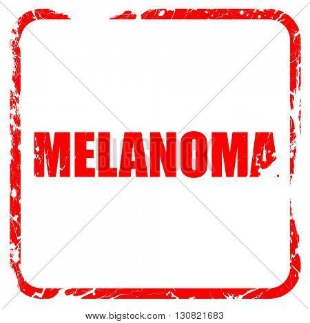 melanoma, red rubber stamp with grunge edges