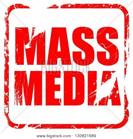 mass media, red rubber stamp with grunge edges