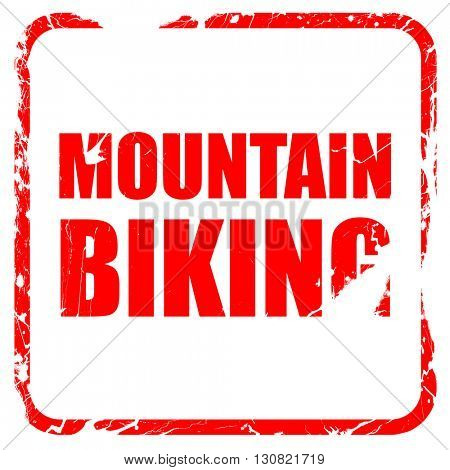 moutain biking, red rubber stamp with grunge edges