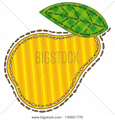 Yellow Pear in Patchwork Style. Isolated on a White Background