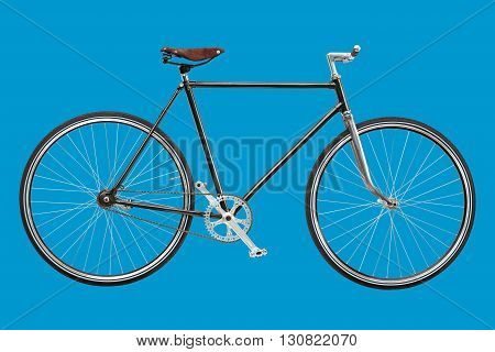 Vintage custom singlespeed bicycle isolated on blue background.