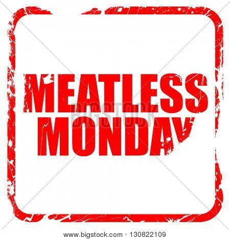 meatless monday, red rubber stamp with grunge edges