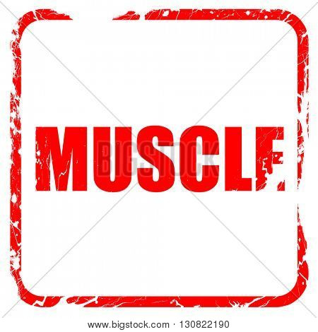 muscle, red rubber stamp with grunge edges