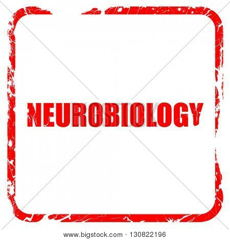 neurobiology, red rubber stamp with grunge edges
