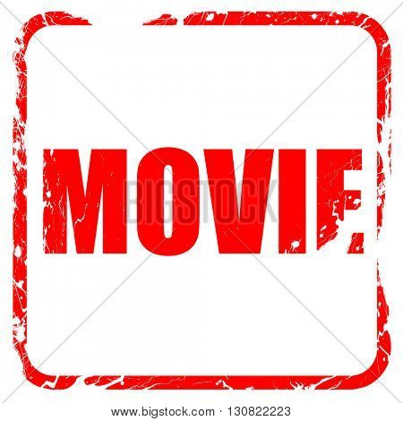 movie, red rubber stamp with grunge edges