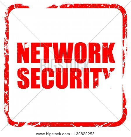 network security, red rubber stamp with grunge edges