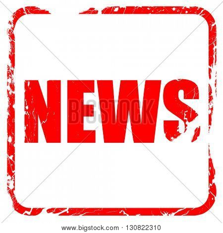 news, red rubber stamp with grunge edges