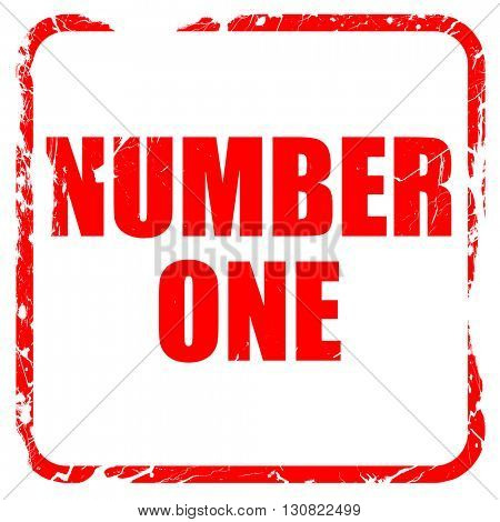 number one sign, red rubber stamp with grunge edges