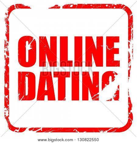 online dating, red rubber stamp with grunge edges