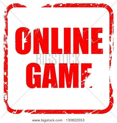 online game, red rubber stamp with grunge edges