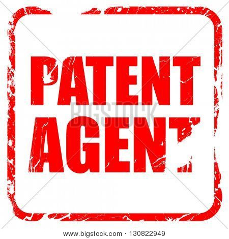 patent agent, red rubber stamp with grunge edges