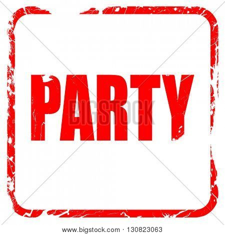 party, red rubber stamp with grunge edges