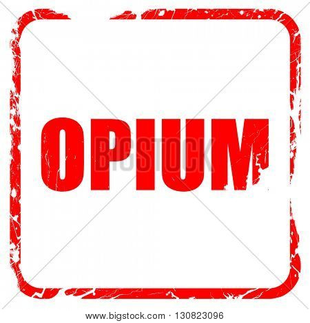 opium, red rubber stamp with grunge edges