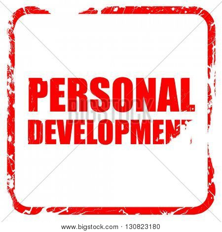 personal development, red rubber stamp with grunge edges