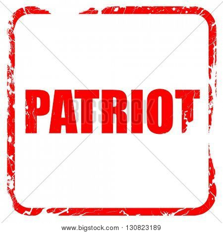 patriot, red rubber stamp with grunge edges