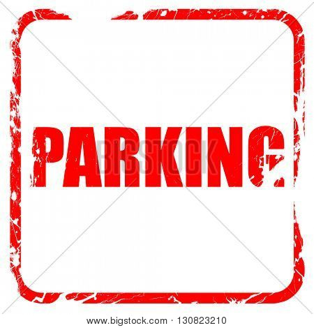 parking, red rubber stamp with grunge edges