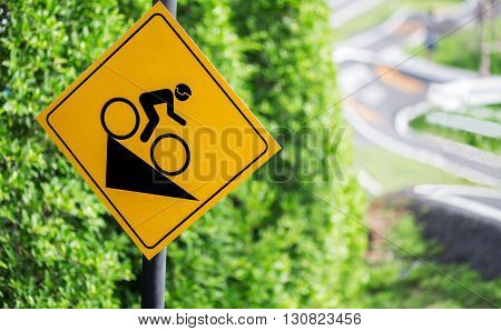 Bike track sign road sign  with  trees background