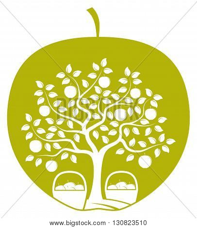 vector apple tree and baskets of apples in apple isolated on white background