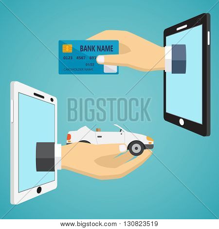 Hands with car and credit card in flat design.
