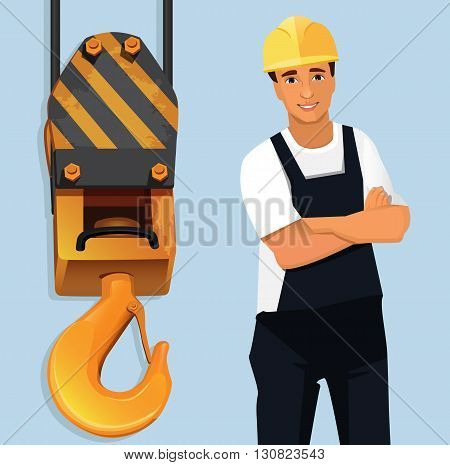 Construction worker standingstanding folded hands  by crane hook
