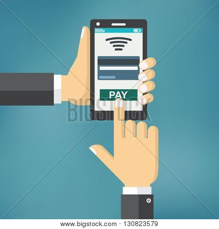 Hand holding phone with app for mobile paying, flat design illustration.