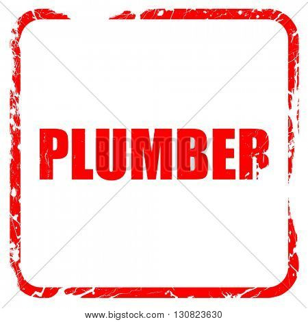 plumber, red rubber stamp with grunge edges