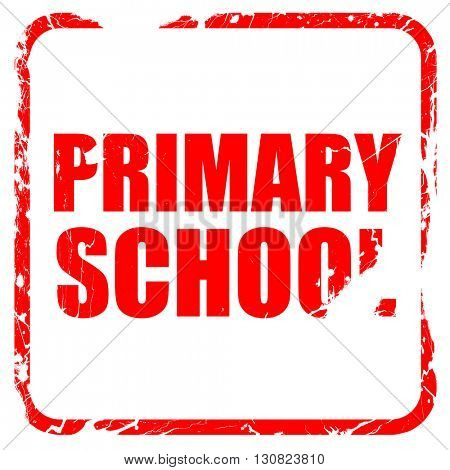 primary school, red rubber stamp with grunge edges