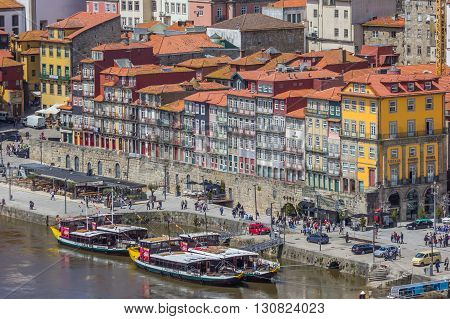 PORTO, PORTUGAL - APRIL 20, 2016: View over the colorful houses of the Ribeira in Porto, Portugal