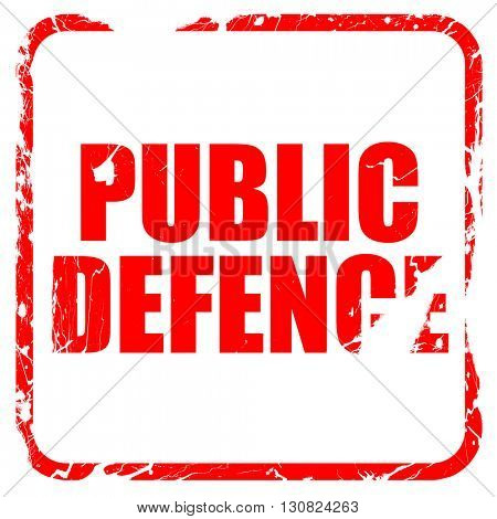 public defence, red rubber stamp with grunge edges