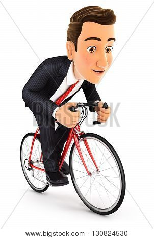 3d businessman riding a bike isolated white background