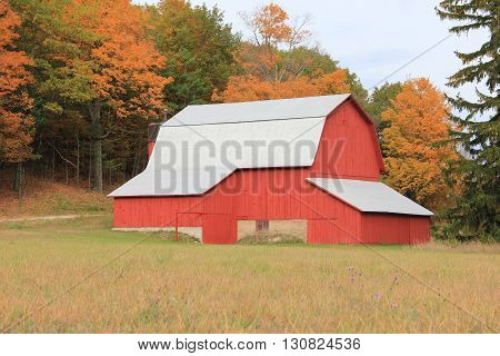 Changing colors around a barn in Port Oneida Historic Farm District, Sleeping Bear Dunes National Lakeshore, Michigan