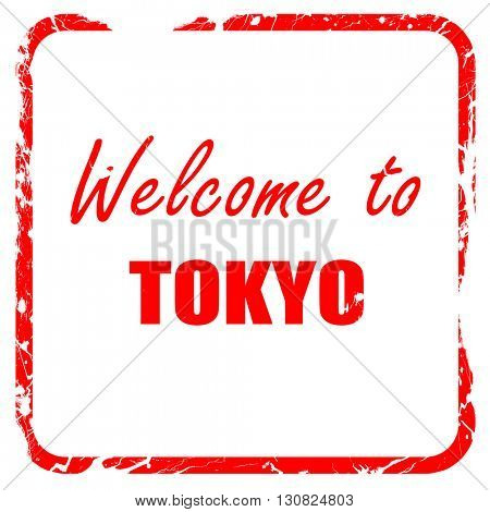 Welcome to tokyo, red rubber stamp with grunge edges