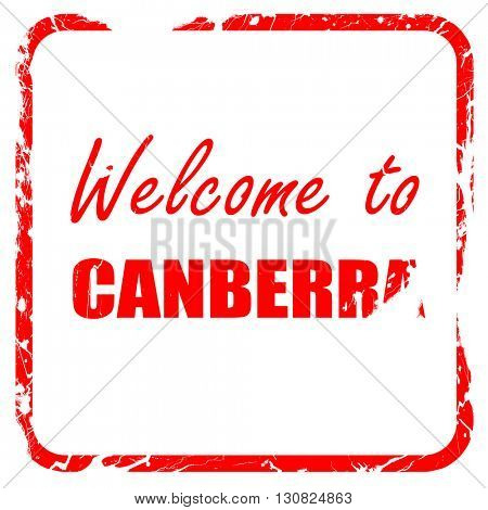 Welcome to canberra, red rubber stamp with grunge edges