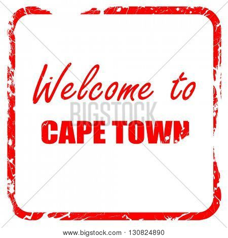 Welcome to cape town, red rubber stamp with grunge edges