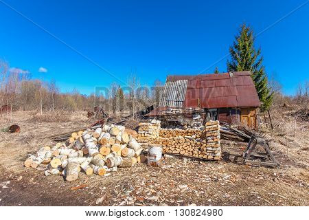 The Abandoned rural house chopped firewood and sawdust