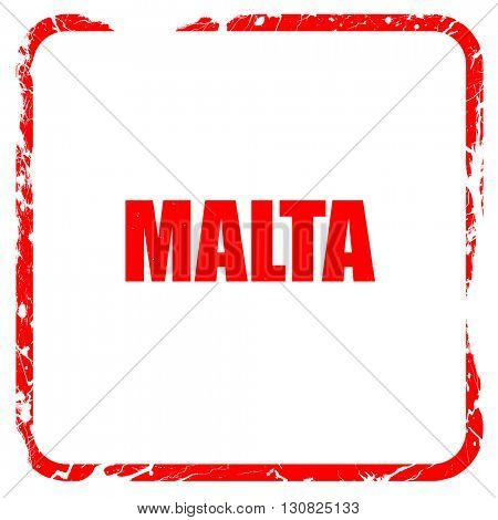 Greetings from malta, red rubber stamp with grunge edges