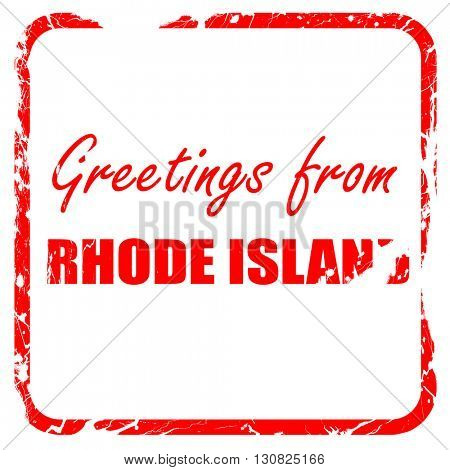 Greetings from rhode island, red rubber stamp with grunge edges