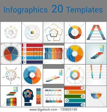 Infographics 20 Templates text area on five position Can be used for workflow process business banner diagram number options work plan web design.