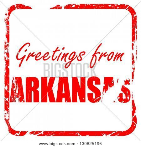 Greetings from arkansas, red rubber stamp with grunge edges