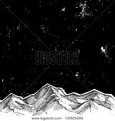 Hand Drawn Vector Illustration - Mountains And Starry Sky . Sketch Style. Template For Your Design