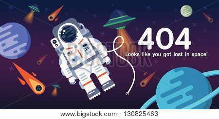 The concept of 404 error web page with austronaut in the open space between different palnets comets stars and space ships. Very good idea. Perfect for sites under constructions. Vector. Flat.