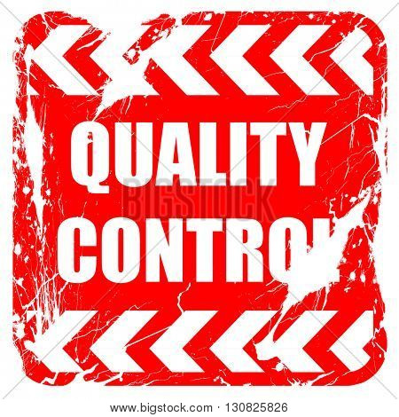 Quality control background, red rubber stamp with grunge edges