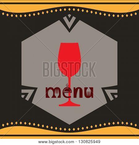 Wine Menu Card Design Template Vector Illustration