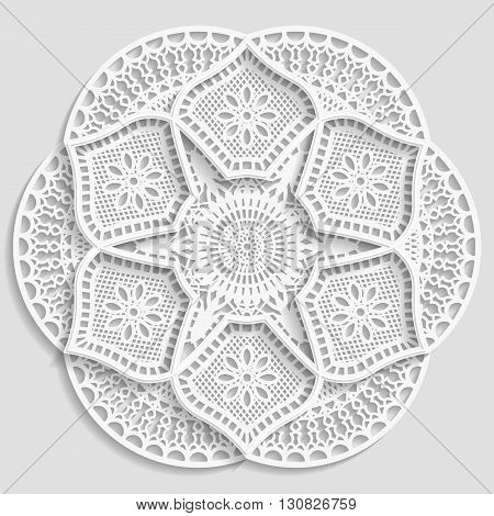 Lacy paper doily decorative flower decorative snowflake lacy mandala lace pattern arabic ornamentindian ornament 3D vector